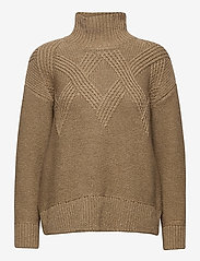 GANT - D2. GRAPHIC CABLE TURTLE - turtlenecks - warm khaki - 0
