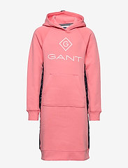 GANT - D1. LOCK UP STRIPE HOODIE DRESS - robes - strawberry pink - 0
