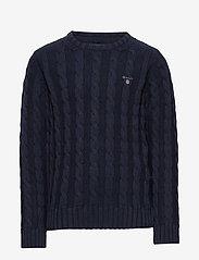 GANT - COTTON CABLE CREW - knitwear - evening blue - 0