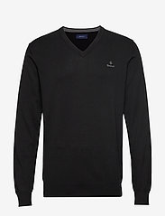 GANT - CLASSIC COTTON V-NECK - knitted v-necks - black - 0