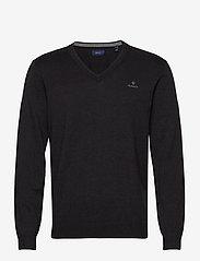 GANT - CLASSIC COTTON V-NECK - knitted v-necks - dk charcoal melange - 0