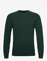 GANT - D2. LAMBSWOOL CABLE CREW - knitted round necks - tartan green - 0