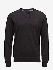 GANT - LIGHT WEIGHT COTTON V-NECK - basisstrikkeplagg - dk charcoal melange - 0