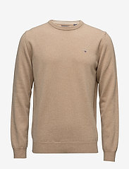 GANT - SUPERFINE LAMBSWOOL CREW - basic knitwear - dk. sand melange - 0