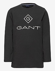 GANT - GANT LOCK-UP LS T-SHIRT - long-sleeved t-shirts - black - 0