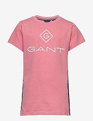 GANT - D1. LOCK UP STRIPE SS T-SHIRT - kurzärmelige - strawberry pink - 0
