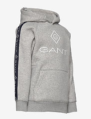 GANT - D1. LOCK UP STRIPE HOODIE - hættetrøjer - light grey melange - 3