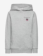 GANT - D1. MEDIUM SHIELD SWEAT HOODIE - hoodies - light grey melange - 0