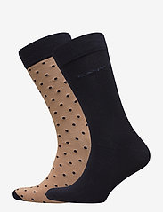 GANT - 2-PACK SOLID AND DOT SOCKS - chaussettes régulières - warm khaki - 0