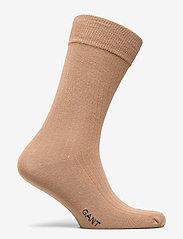 GANT - D1. SOLID RIB SOCK EMB SOCKS - regular socks - warm khaki - 1