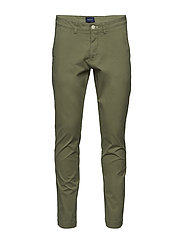 D2. SLIM SUNFADED CHINO - OIL GREEN