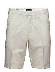 O1. COTTON LINEN SHORTS - EGGSHELL