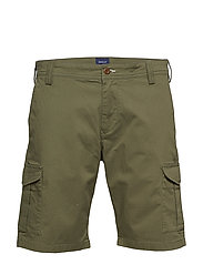 D1. RELAXED TWILL UTILITY SHORTS - FOUR LEAF CLOVER