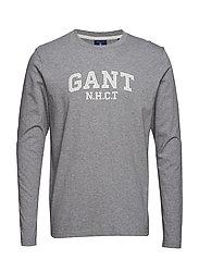 O2. GANT LS T-SHIRT - GREY MELANGE