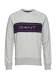 O1.GANT ARCHIVE STRIPE C-NECK SWEAT - LIGHT GREY MELANGE