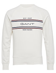 D1. GANT Stripe C-Neck Sweat - EGGSHELL
