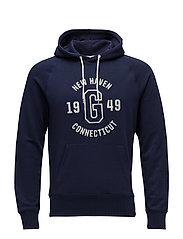 OP2. GRAPHIC EMB SWEAT HOODIE - EVENING BLUE