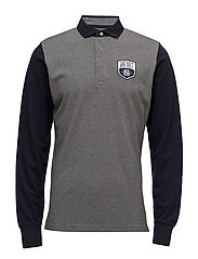 O1. COLOR BLOCK PIQUE LS RUGGER - DARK GREY MELANGE