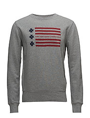 OP1. AMERICAN FLAG C-NECK SWEAT - GREY MELANGE