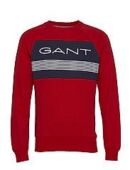 D1. GANT STRIPE C-NECK SWEAT - BRIGHT RED