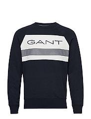 D1. GANT STRIPE C-NECK SWEAT - EVENING BLUE