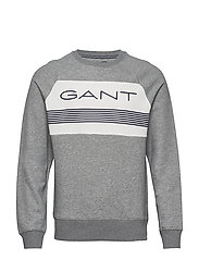 D1. GANT STRIPE C-NECK SWEAT - GREY MELANGE