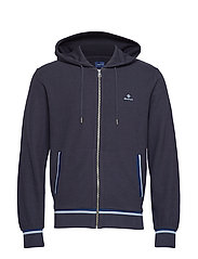 O1. WAFFLE STRUCTURED FULL ZIP HOOD - EVENING BLUE