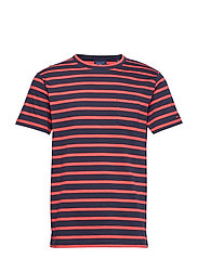 O2. STRIPED SS T-SHIRT - WATERMELON RED