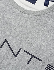 GANT - D1. GANT STRIPE SS T-SHIRT - short-sleeved t-shirts - grey melange - 2