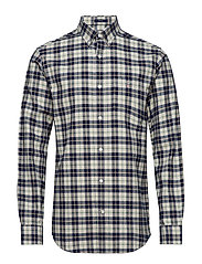 O1. BRUSHED OXFORD PLAID REG BD - PUTTY