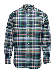 O2. STRETCH OXFORD CHECK REG BD - IVY GREEN