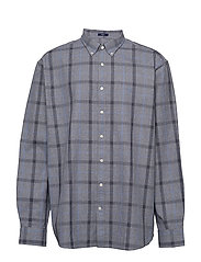 D1. HEATHER OXFORD  PLAID REG BD - MARINE