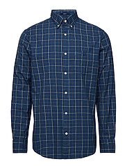 O1. CAMPUS OXFORD CHECK REG BD - INDIGO BLUE