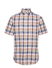 D1. OXFORD PLAID REG BD SS - WARM KHAKI