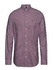 THE OXFORD 3 COL GINGHAM SLIM BD - MAHOGNY RED