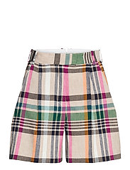 D2. CHECKED TAILORED SHORTS - DRY SAND