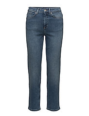 OP2. STR. CROPPED HW DENIM JEANS - SEMI LIGHT INDIGO WORN IN