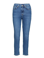 O2. SLIM CROPPED HW DENIM JEANS - SEMI LIGHT INDIGO WORN IN
