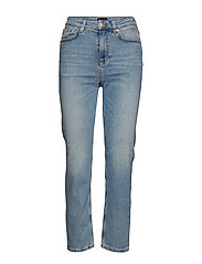 O2. SLIM CROPPED HW DENIM JEANS - LIGHT BLUE WORN IN