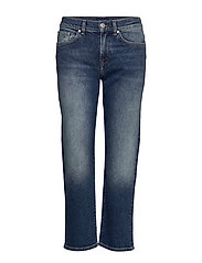 D1. CROPPED BOYFRIEND JEANS - SEMI LIGHT BLUE BROKEN IN