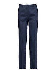 O2. STRETCH LINEN WIDE PANT - MARINE