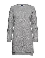D2. TEXTURE CABLE DRESS - GREY MELANGE