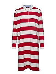 O1. STRIPED HEAVY RUGGER DRESS - RED