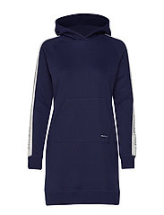D1.GANT ARCHIVE SWEAT HOODIE DRESS - EVENING BLUE