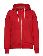 D1. 13 STRIPES FULL ZIP HOODIE - FIERY RED
