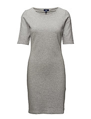 OP2. SOLID PIQUE DRESS - LIGHT GREY MELANGE