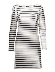 BRETON STRIPE BOATNECK DRESS - EGGSHELL