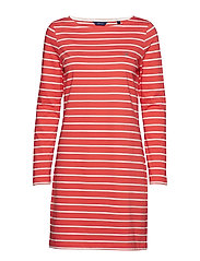 BRETON STRIPE BOATNECK DRESS - WATERMELON RED