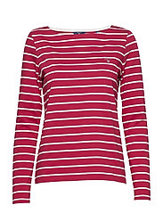 BRETON STRIPE BOATNECK JUMPER - RASPBERRY RED