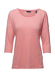 O2. LINEN 3/4 SLEEVE TUNIC - STRAWBERRY PINK